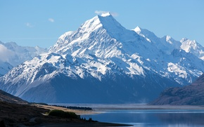 Picture snow, mountains, New Zealand, the lake., Mount Cook, Aoraki National Park