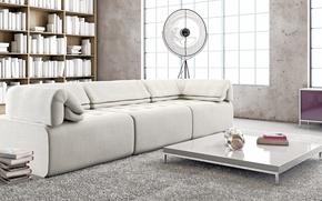 Picture sofa, books, carpet, table