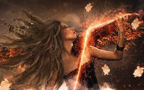 Picture violin, Girl, sparks, photo manipulation