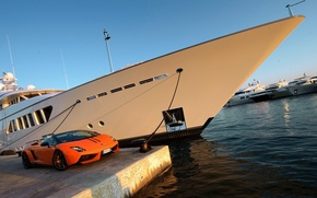 Picture sea, the sky, the city, ship, yacht, pier, nose, port, Gallardo, liner, LP 570-4, Spyder, ...