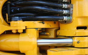 Picture metal, yellow, machine, cables, hydraulic