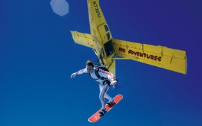 Picture the sky, the plane, parachute, container, skydivers, extreme sports, parachuting, skysurfing