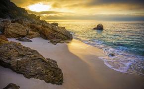 Picture sand, beach, the ocean, rocks, dawn, coast