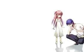 Picture girl, anime, guy, Angel Beats, Yui, Hinata Hideki