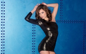 Picture DRESS, BROWN hair, FIGURE, BLACK, Malena Morgan