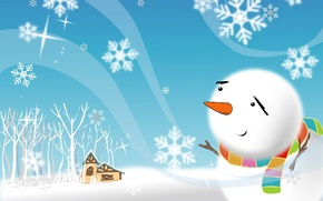 Wallpaper winter, trees, snowflakes, house, holiday, figure, new year, scarf, snowman