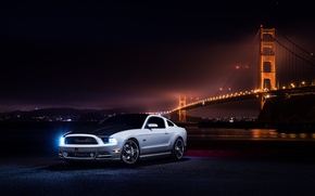 Picture Mustang, Ford, Muscle, Car, Front, Bridge, White, Collection, Aristo, Nigth