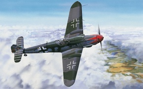 Picture war, art, painting, drawing, ww2, bf 109, german fighter