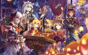 Picture look, smile, girls, holiday, surprise, pumpkin, demons, touhou, nothing, remilia scarlet, izayoi sakuya, art, hong …