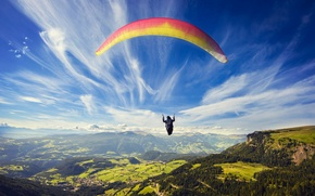 Picture the sky, clouds, mountains, field, height, parachute, panorama, forest