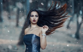 Wallpaper The cold woods, makeup, girl, Alessandro Di Cicco, the wind, hair