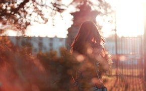 Picture girl, turnover, glare, autumn, dress, hair