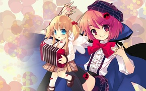 Picture girl, cloak, bow, takes, art, accordion, puppet, noizi ito