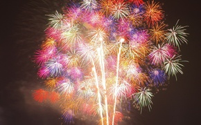 Picture the sky, lights, smoke, colored, fireworks, different