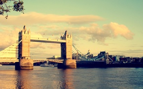 Picture the sky, color, water, the sun, light, bridge, the city, river, London, Thames, UK, tower …