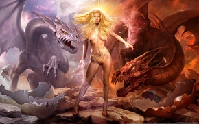 Picture girl, magic, dragons, war of dragons