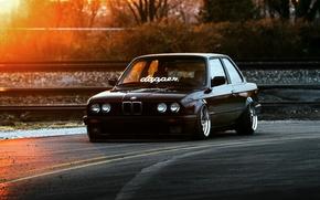 Picture BMW, Car, Front, Black, Sun, E30, Stance, Dapper, Ligth