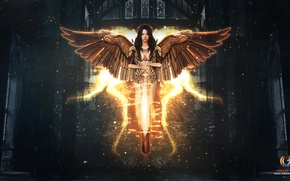 Picture girl, fantasy, weapons, wings, angel, sword, brunette, CGOz