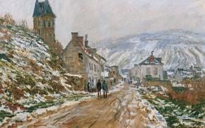 Wallpaper landscape, The road in Vétheuil in Winter, picture, Claude Monet