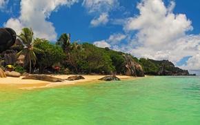 Picture beach, tropics, stones, palm trees, rocks, coast, island, Seychelles, the Indian ocean, La Digue Island