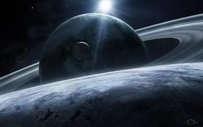 Picture space, stars, planet, satellite, ring, art, qaz2008