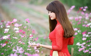 Picture girl, flowers, hair, hands, dress, lips, red dress
