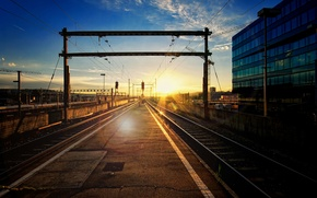 Picture the city, station, railroad, Blik, the sun