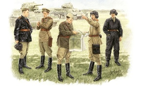 Picture art, artist, soldiers, USSR, WWII, WW2, Soviet, conditions, officers, briefing, A. Karashchuk., field