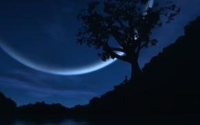 Wallpaper lake, the moon, people, Tree