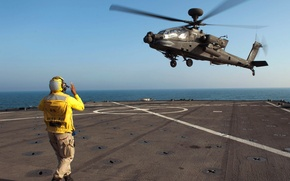 Picture sea, landing, the sky, the carrier, helicopter