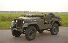 "Wallpaper SUV, Jeep, grass, car, patency, high, army, ""jeep М38А1"", Willys M38A1, 1955"