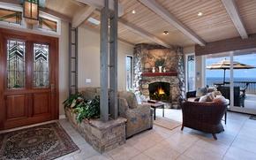 Picture design, photo, interior, the door, fireplace, living room