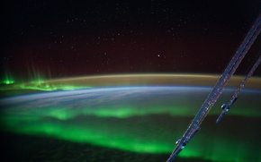 Picture space, stars, Northern lights, Earth, planet