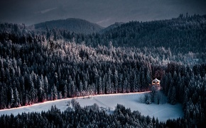 Picture mountains, winter, road, ate, the evening, house, twilight, forest