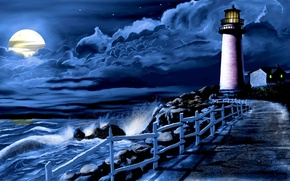 Picture sea, wave, clouds, night, the moon, lighthouse, track, surf