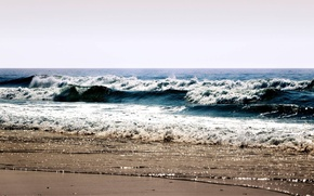Picture sea, wave, beach, summer, the sky, foam, water, landscape, squirt, shore, sea, ocean, water, beaches, ...