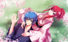 Wallpaper girl, nature, anime, petals, Sakura, guy, kimono, Fairy Tail, Jellal Fernandes, Tale of fairy tail, ...