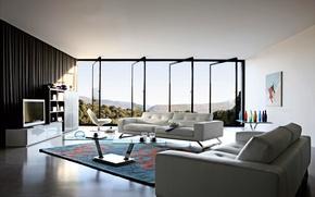 Picture design, carpet, furniture, Windows, bed, interior, door, TV, table, furnished, open, vases