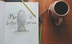 Picture the inscription, figure, pencils, mug, Cup