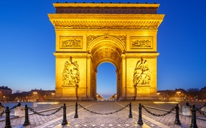 Picture night, lights, France, Paris, Arch, place Charles de Gaulle
