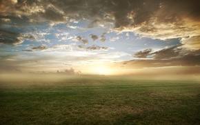 Picture field, grass, clouds, nature, fog, lawn, morning