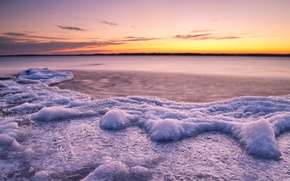 Wallpaper cold, ice, water, sunset, lake, river, ice