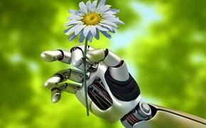Picture summer, macro, nature, mechanism, robot, hand, blur, robot, Android, gesture, android, keeps, hi-tech, bokeh, wallpaper., …