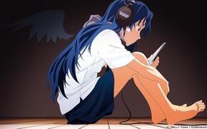 Picture headphones, player, floor, sitting, long hair, barefoot, Chihaya Kisaragi, Idol Master, the idolm @ ster