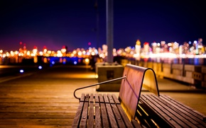 Picture light, night, the city, lights, pier, Canada, benches, bokeh, British Columbia, North Vancouver