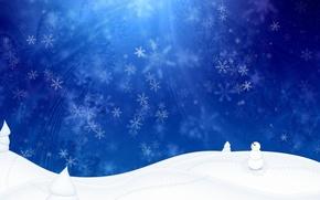 Wallpaper snowman, blue, White, winter