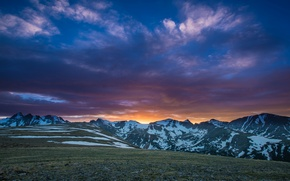 Picture snow, sunset, mountains, tops