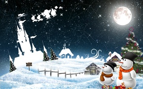 Wallpaper snowman, balls, New Year, holiday, snow, winter, decoration, New Year, Christmas, Christmas