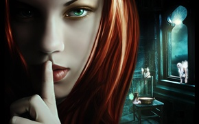 Picture girl, close-up, face, hair, web, window, art, fairies, green eyes