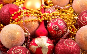 Picture holiday, patterns, Shine, new year, sequins, red, beads, new year, gold, Christmas balls